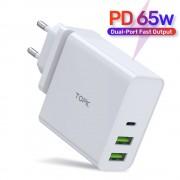 Сетевое зарядное устройство Topk 65W Type-C/PD, 2xUSB Quick Charge 2.0 White (TK306P-WT)